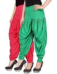 Navyataa Women's Lycra Dhoti Pants For Women Patiyala Dhoti Lycra Salwar Free Size (Pack Of 2) Pink & Green