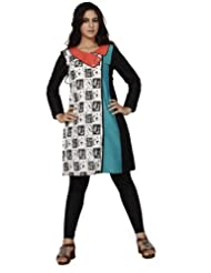 Spoiltchic Women Cotton Black & White Printed Tunic