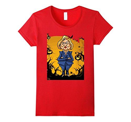 Trump and Clinton Halloween Costumes - Choose Edgy or Funny - Women's Halloween Jack O' Lantern Hillary pumpkin USA funny t-shirt Red