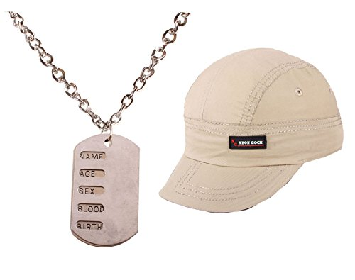 Silver Chain Necklace For Men Combo Cap
