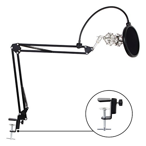 TONOR Adjustable Microphone Suspension Boom Scissor Arm Stand with Table Mounting Clamp & Metal Shock Mount & Pop Filter