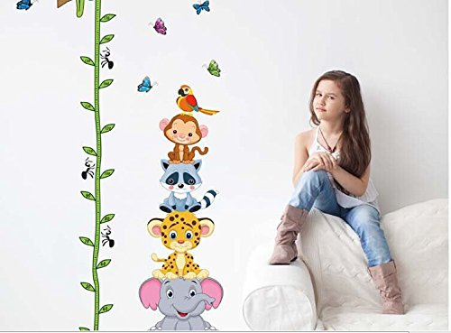 SYGA Tree With Animals Height Chart Wall Sticker For Kids Room Décor