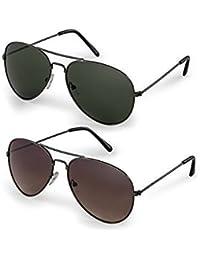 Sheomy Combo Of Gun Green Aviator And Gun Brown Aviator Sunglasses With 2 Box - 3N-PPV0-P12K