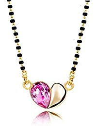 YouBella Crsytal Studded Gold Plated Mangalsutra Necklace Pendant With Chain For Women