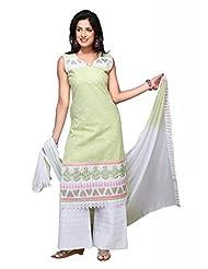 Olive Green Cotton Straight Salwar Kameez For Ladies - B00TJVJ9NA