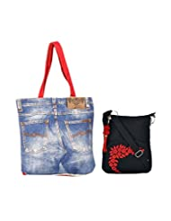 Combo Of Wonderful Denim With Black Small Sling Bag