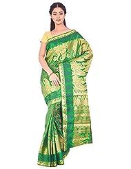Ankisha Women's Bangalore Silk Saree (ARAVALITGREEN, Green, Free Size)