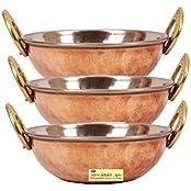 "SHIV SHAKTI ARTS 3"" X 6"" Handmade Traditional Steel Copper Bottom Dish Serving Set Of 3 Kadai Capacity 500 ML..."