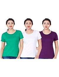 Fleximaa Women's Cotton Round Neck T-Shirt Plain (Pack Of 3) - White, Purple & Pakistan Green Colors.