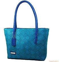 Blue Stitch-Strap Tote Bag Textured Bag Zipper Closure Faux Leather Material