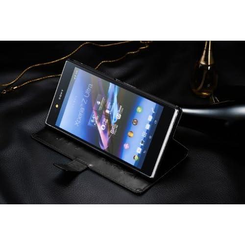 [F.G.S]Sony Xperia Z Ultra au SOL24 専用手帳型 PUレザーケース カードセット付き 本革に近い素材使用 ブラック 【日本正規輸入代理店品】