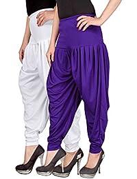Navyataa Women's Lycra Dhoti Pants For Women Patiyala Dhoti Lycra Salwar Free Size (Pack Of 2) White & Voilet