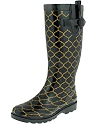 Capelli New York Ladies Shiny Scattered Dots Printed Rain Boot