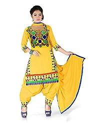 DIVINE FASHION STUDIO Yellow Punjabi Style Designer Semi Stitched Patiyala Suit