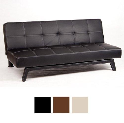 NEG Design Sofa Schlafsofa Klappsofa 3-Sitzer, große Liegefläche 180x108 cm, sehr bequem - schwarz