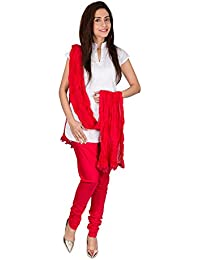 Womens Cottage Red Pure Cotton Chudidar & Cotton Dupatta With Lace Set
