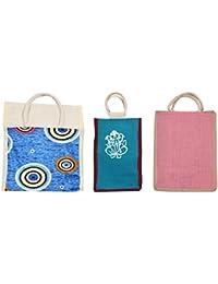 Cristal Bags Jute Shopping Bags (Pack Of 3, Jute-805)