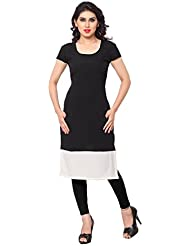 ZIYAA Black Colored Half Sleeve And Round Neck Faux Crepe Kurti