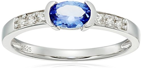 Sterling Silver Tanzanite and Natural White Zircon Ring, Size 7