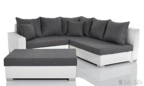 Ecksofa Lavello 210x210 cm Weiss Grau Sofa + Hocker