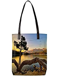 Snoogg Zig Zag Tree Womens Digitally Printed Utility Tote Bag Handbag Made Of Poly Canvas With Leather Handle