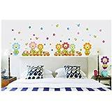 Decals Arts Cartoon Sunflower Fence PVC Wall Sticker