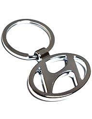 Glow Time Hyundai Car Logo Keychain - (8cmL X 6cmB, Silver)