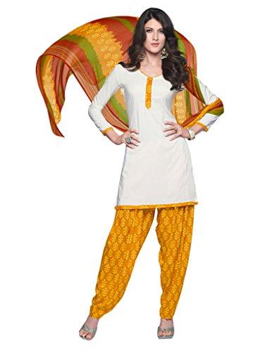 Inddus Women White & Orange Crepe Unstitched Dress Material