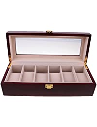 MagiDeal 6 Slots Wine Red Watch Case Display Box Wood Jewelry Storage Organizer Holder With Clear Glass Lid