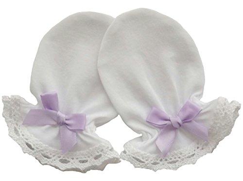 100% Cotton Jersey Newborn Baby Anti Scratch Mittens Cotton Lace, Light Purple Satin Bow (0-3 Months, White)
