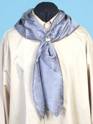 Victorian Men's Shirts- Wingtip, Gambler, Bib, Collarless Silk Scarf Grey One Size $35.16 AT vintagedancer.com