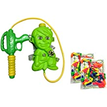 Holi Color Combo - Ben 10 Water Gun With Storage Tank Pichkari And Balloons