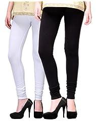 2Day Women's Cotton Churidaar Legging Black/White (Pack Of 2)
