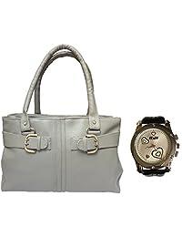 Arc HnH Women HandBag + Watch Combo - Buckle Grey Handbag + Premium Silver Heart Watch