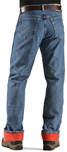 Wrangler Rugged Wear Men's Woodland Thermal Jean ,Stonewashed Denim,34x32
