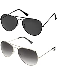 SHEOMY GOGALS FOR BOYS And Girls - COMBO OF STYLISH SILVER GREY AVIATOR AND FULL BLACK AVIATOR SUNGLASSES WITH...