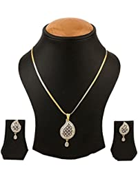 DS Multicolour Alloy AD Pendant Set Necklace Set With Chain And Earrings For Women Girls(DS32)