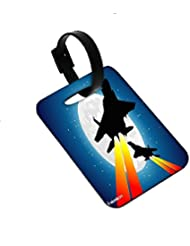 Snoogg Moon And Jet Fighters Luggage Tags Premium Quality Card Tags - Great For Travel
