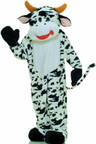 Forum Deluxe Plush Cow Mascot Costume, Black