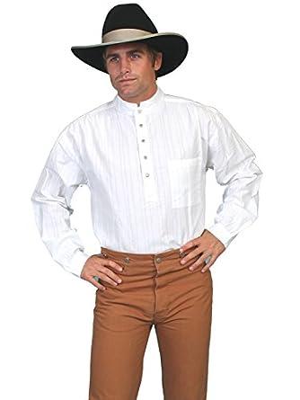 Victorian Men's Shirts- Wingtip, Gambler, Bib, Collarless Railroader Shirt $45.70 AT vintagedancer.com