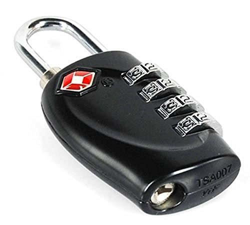 2 x TSA Sicherheit Zahlenschloss - 4-Ziffern Kombination Reisekoffer - Reisetasche - Gepäckschloss - Vorhängeschloss (SCHWARZ) - LEBENSLANGE GARANTIE - 3