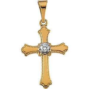 IceCarats Designer Jewelry 14K Yellow Gold Diamond Cross Pendant 15.00X11.00 Mm 0.61 Inch