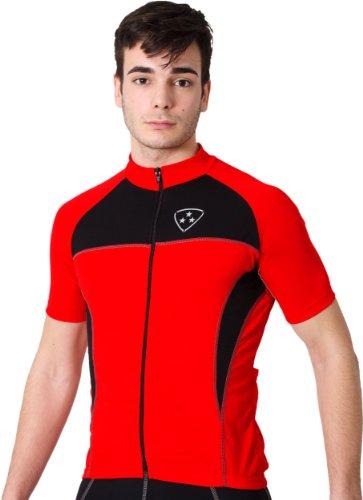 Deporteshera - Ropa ciclismo, Maillot Mangas Cortas, Camiseta Ciclismo, Color Rojo/Negro