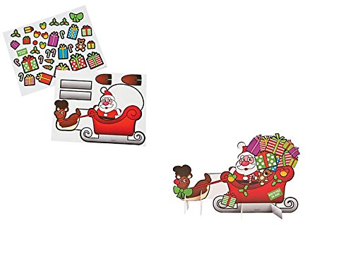 (24) CHRISTMAS Santa & Sleigh Sticker Scene ~ Holiday Craft Project ~ Party Classroom Activity ~ Winter Fest Prize ~ Stocking Stuffers