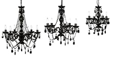 Gypsy Color 4 Arm BLACK CHANDELIER Small Acrylic CRYSTAL CHANDELIER New Chic Lighting for Café Salon Store Decoration Best Selling Entryway Bathroom Bedroom Closet Chandeliers, Black