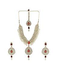 Shining Diva Splendid Antique Necklace Set With Maang Tika