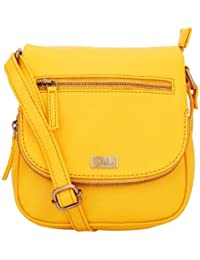 Yelloe_YELLOW_Synthetic Leather_Sling Bag With Zippar In Flap