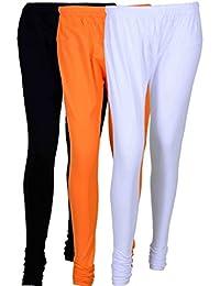 Fashion And Freedom Women's Cotton Leggings Pack Of 3_FFCL_BOW_BLACK-ORANGE-WHITE_FREESIZE
