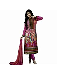 Typify Pink Half Georgette Half Satin Semistitched Dress Material