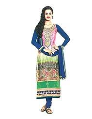 Sabrang Women Georgette Digital Printed Multi-coloured Round Neck Salwar Suit - B00OXQXYIM